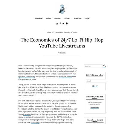 The Economics of 24/7 Lo-Fi Hip-Hop YouTube Livestreams – Hot Pod News