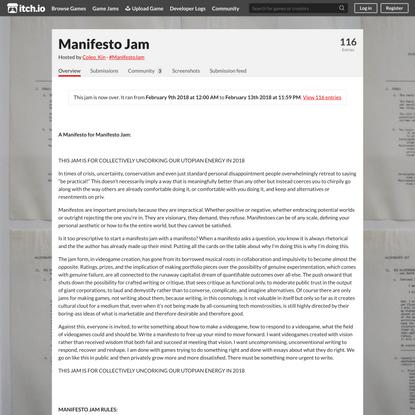 Manifesto Jam - itch.io