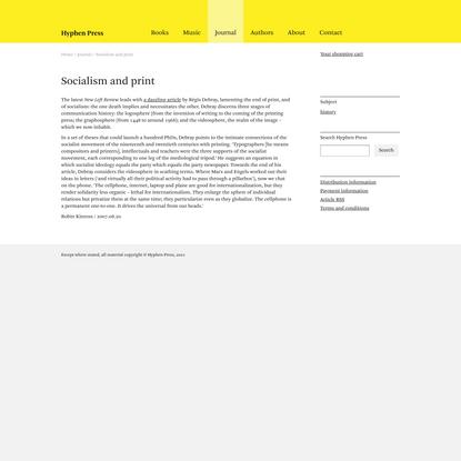 Socialism and print | Journal | Hyphen Press
