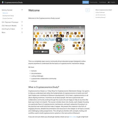 Welcome · Cryptoeconomics.Study