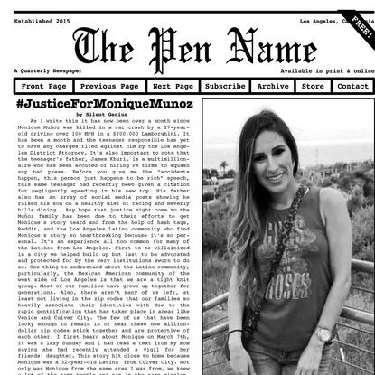 The Pen Name Newspaper
