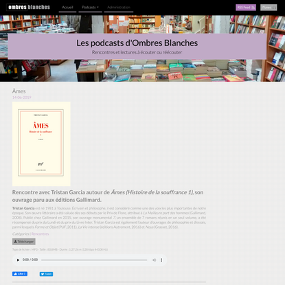 Âmes « Les podcasts de la librairie Ombres Blanches
