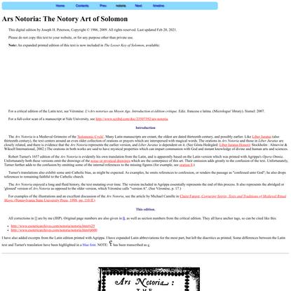 Ars Notoria: the Notory Art of Solomon