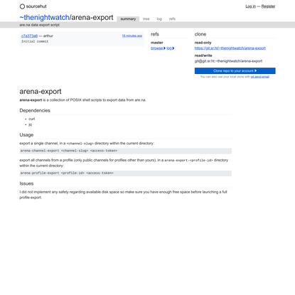 ~thenightwatch/arena-export - sourcehut git
