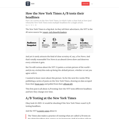 How the New York Times A/B tests their headlines