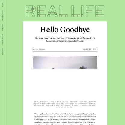 Hello Goodbye — Real Life