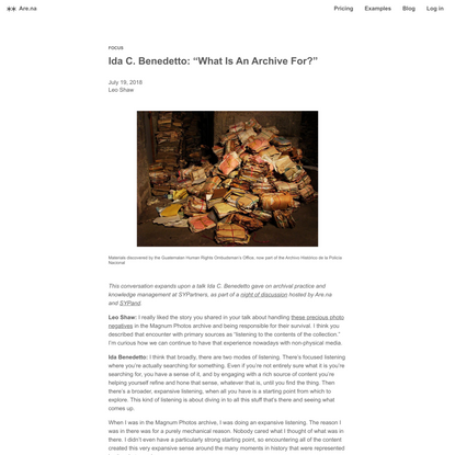 """Ida C. Benedetto: """"What Is An Archive For?"""" — Are.na"""