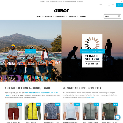 Ornot Bike - Minimally Branded Cycling Apparel - Made in the USA.