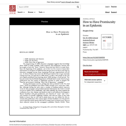 How to Have Promiscuity in an Epidemic on JSTOR