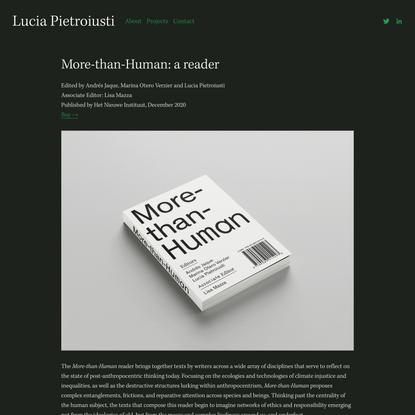 More-than-Human: a reader — Lucia Pietroiusti