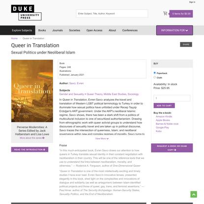 Duke University Press - Queer in Translation
