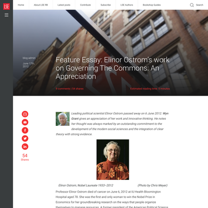 Feature Essay: Elinor Ostrom's work on Governing The Commons: An Appreciation