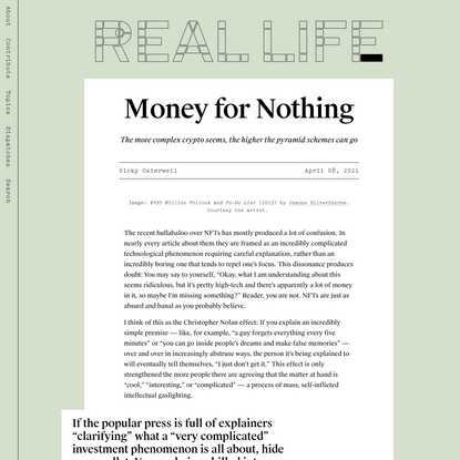 Money for Nothing — Real Life