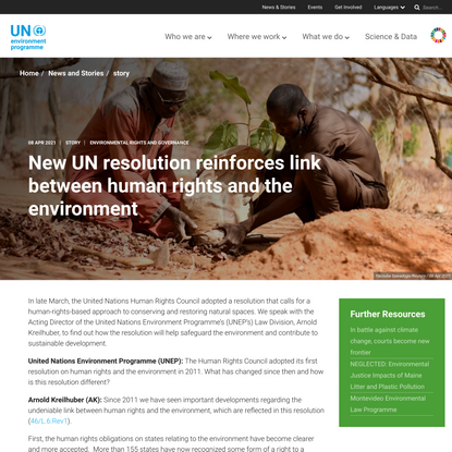 New UN resolution reinforces link between human rights and the environment