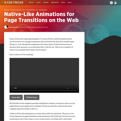 Native-Like Animations for Page Transitions on the Web | CSS-Tricks
