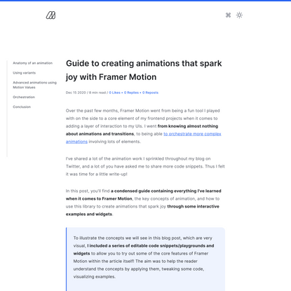 Guide to creating animations that spark joy with Framer Motion - Maxime Heckel's Blog