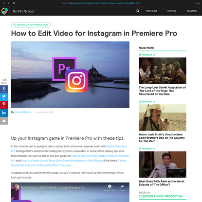 How to Edit Video for Instagram in Premiere Pro