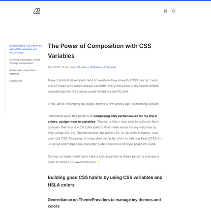 The Power of Composition with CSS Variables - Maxime Heckel's Blog