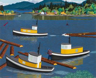 Three Tugboats, Nanaimo Harbour E.J. Hughes 1952