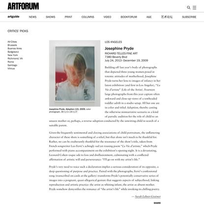 Josephine Pryde at Richard Telles Fine Art
