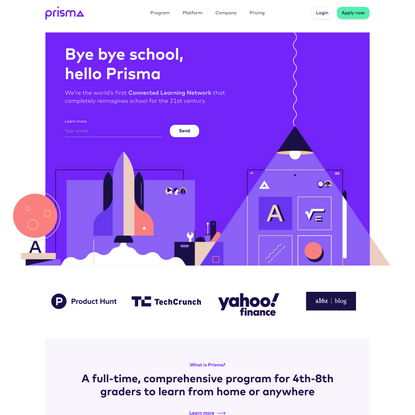 Prisma - The world's first connected learning network for 4-8th graders to learn from home or anywhere in the world.