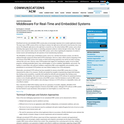 Middleware For Real-Time and Embedded Systems | June 2002 | Communications of the ACM
