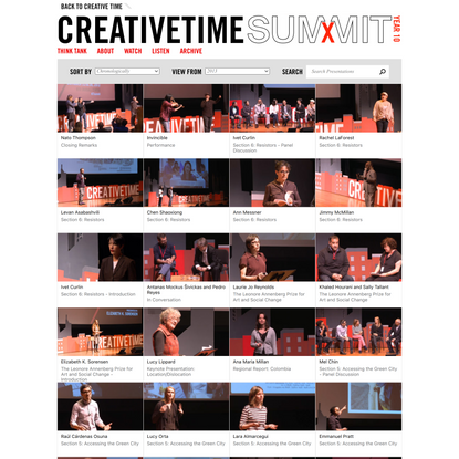 The Creative Time Summit: Art, Place & Dislocation in the 21st Century City: Presentations