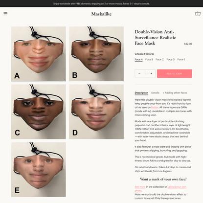 Double-Vision Anti-Surveillance Realistic Face Mask – Maskalike