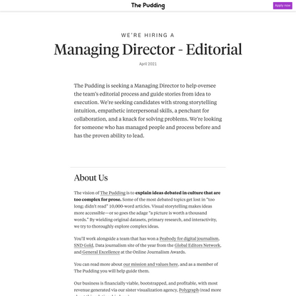 The Pudding, Managing Director