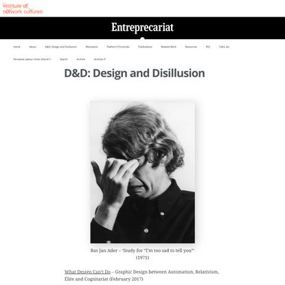 D&D: Design and Disillusion   ENTREPRECARIAT