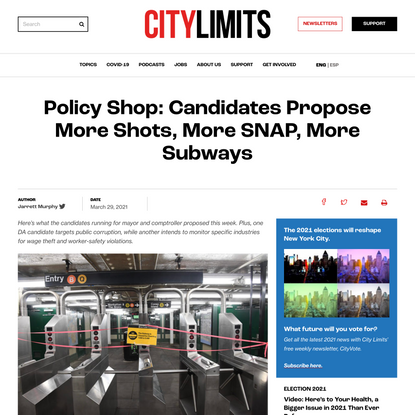 Policy Shop: Candidates Propose More Shots, More SNAP, More Subways