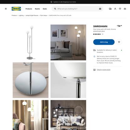 SIMRISHAMN Floor lamp with LED bulb, chrome plated, opal glass - IKEA