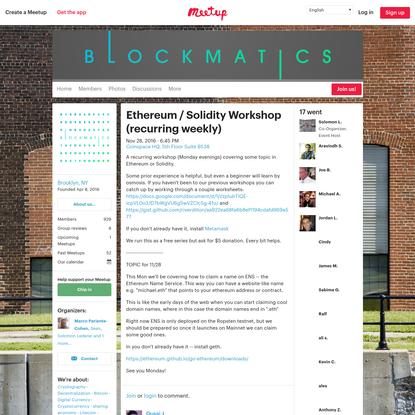 Ethereum / Solidity Workshop (recurring weekly)