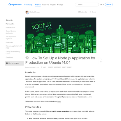 How To Set Up a Node.js Application for Production on Ubuntu 14.04 | DigitalOcean