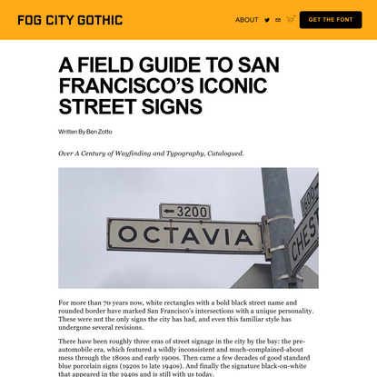 A Field Guide To San Francisco's Iconic Street Signs — Fog City Gothic