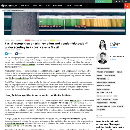 """Facial recognition on trial: emotion and gender """"detection"""" under scrutiny in a court case in Brazil - Access Now"""