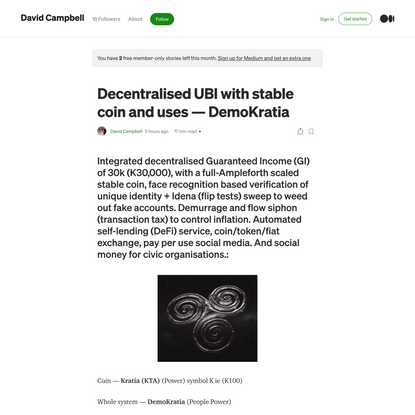 Decentralised UBI with stable coin and uses — DemoKratia