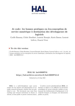 """Plaquette """"Je code : les bonnes pratiques en éco-conception de service numérique à destination des développeurs de logiciels"""""""