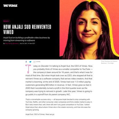 How Anjali Sud reinvented Vimeo