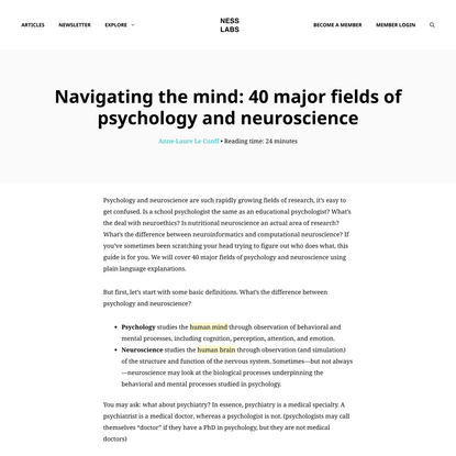 Navigating the mind: 40 major fields of psychology and neuroscience