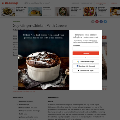 Soy-Ginger Chicken With Greens Recipe