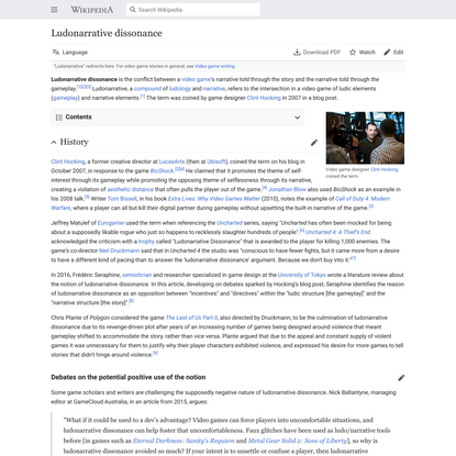 Ludonarrative dissonance - Wikipedia