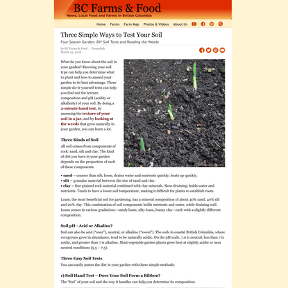 Three Simple Ways to Test Your Soil - BC Farms & Food