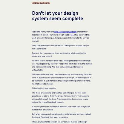 Don't let your design system seem complete