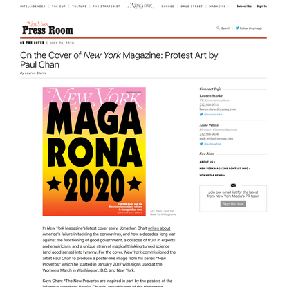 On the Cover of New York Magazine: Protest Art by Paul Chan