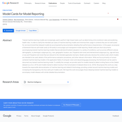 Model Cards for Model Reporting – Google Research