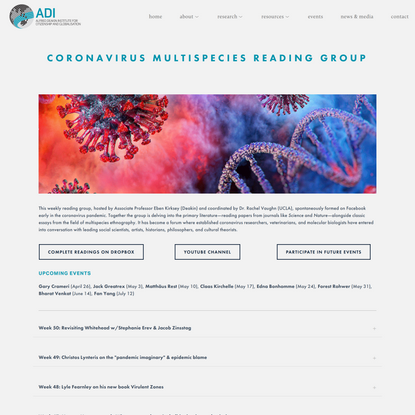 Coronavirus Multispecies Reading Group — Alfred Deakin Institute