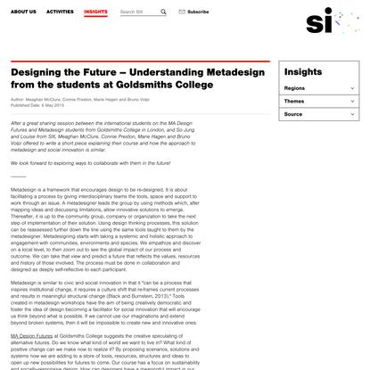 Designing the Future – Understanding Metadesign from the students at Goldsmiths College | socialinnovationexchange.org