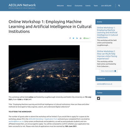 Online Workshop 1: Employing Machine Learning and Artificial Intelligence in Cultural Institutions – AEOLIAN Network