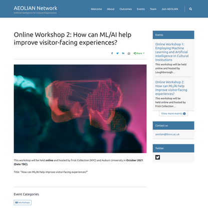 Online Workshop 2: How can ML/AI help improve visitor-facing experiences? – AEOLIAN Network
